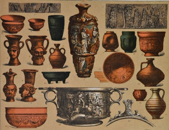 Roman silver and crock vessels. Ancient history. Antique print, 1894.  121 years old print.  11,5 x 8,4 inches.