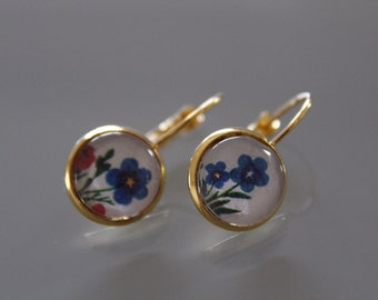 Cabochon earrings 12mm hoop earrings
