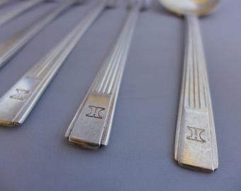 Hilton Art Deco (c.1930s) Flatware, 7-Pieces Silverplate, USA/Japan Collectible