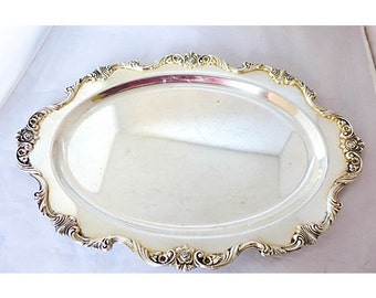 """Vintage Elegant Silver Plate Tray Marked"""" Wallace"""" Royal Rose Pattern"""
