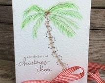 Palm tree Christmas card; Beach Holiday greeting card; Watercolor palm tree/Christmas lights; Vacation Christmas card, Tropical Holiday card