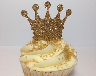 Crown Cupcake Toppers (Princess Party, Princess Decorations)