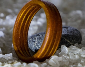 Wood ring in warm gold, wood, finger ring, wood jewelry ring