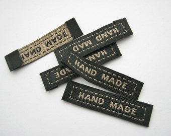 "50 Black ""Handmade"" Fabric Labels 45mm (1 3/4"" inch) Sew On Hand Made Clothing Labels Sewing Tags"