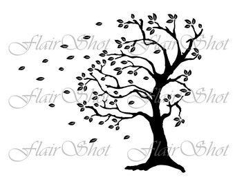 Digital Tree Clip Art, Silhouette Tree Clipart, Windblown Tree Clipart, INSTANT DOWNLOAD