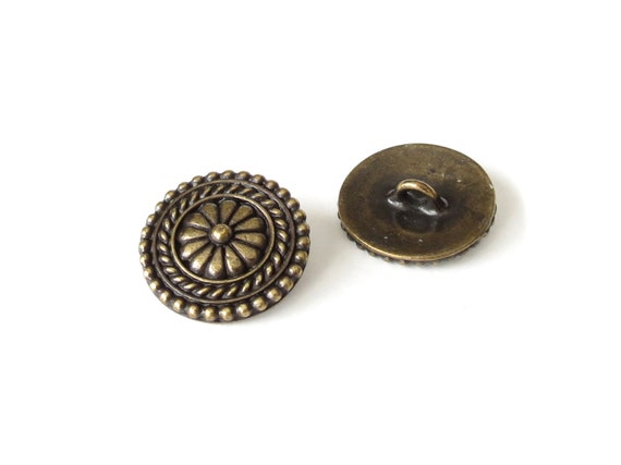 2x bali buttons with shank brass oxide finish tierracast for Buttons with shanks for jewelry