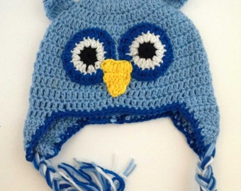 Owl Hat | Animal Hat | Crochet Hat | Crochet Owl Hat | Blue Owl Hat | Character Hat | Child Character Hat | Winter Hat | Owl | Knitted Hat
