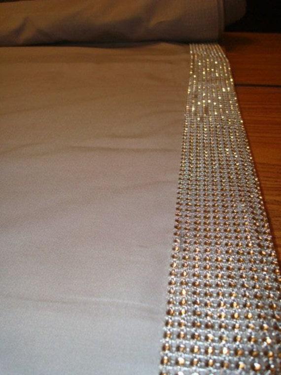 Rhinestone Trim Fabric Aisle Runner Glam Wedding Bling Aisle