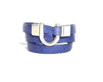 Leather Bracelet Wrap Snake Skin Royal Blue