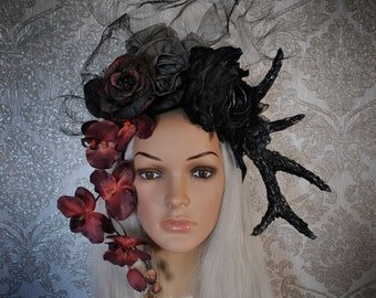 Fantasy headpiece - asymmetric headpiece - tribal headdress - headpiece with orchids - headpiece with roses - headdress with horns