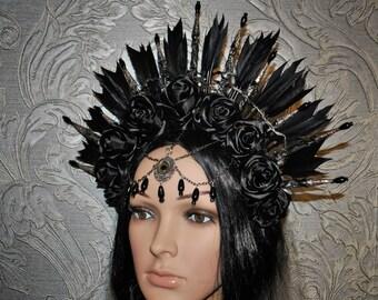 Gothic headpiece - tribal headpiece - crown  with black roses - feather headpiece - black headdress - black headpiece