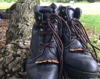 vintage black work boots