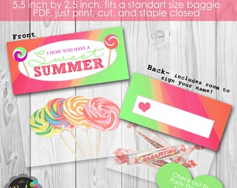 Instant Download Sweet Summer End of School Year Treat Favor Gift Bag Topper