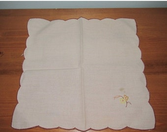ON SALE NOW Vintage Embroidered Womens Handkerchief Cream with Flower