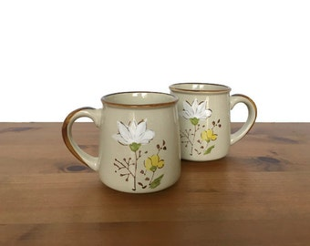 Vintage Casualstone stoneware mugs white flower design coffee cups