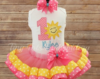 You Are My Sunshine Birthday Tutu Outfit ~ Pink & Yellow Tutu Outfit ~ Includes Top, Ribbon Trim Tutu and Hair Bow