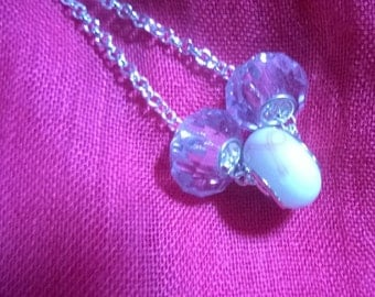 BREAST CANCER Sterling Silver NECKLACE  Jewelry Gift Crystal Beads & White and Pink Ribbon Charm 3 Charms, Crystal Ribbon Charm