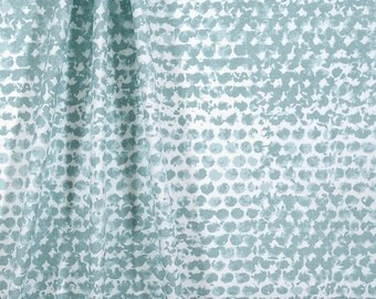 Blue Panel Curtain. Zoey Spa Blue Panel Curtain.Light Blue Window curtain. Cotton.unlined.Designers pattern.Choose  your sizes