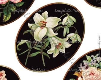 Digital Collage Sheet Vintage Flowers Rose on Black Background 30x40 mm oval images for scrapbooking pendants Original  4x6 inch sheet 276