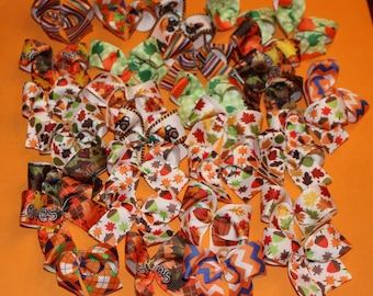 30 size Medium-Large Fall Autumn Dog Bows Dog Grooming Bows top quality ribbons