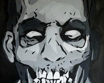 Print of The Working Man Zombie,Zombie Painting,Black and White A4 size,Zombie Portrait,Zombie Apocalypse,Zombie gnomes,Zombie Art
