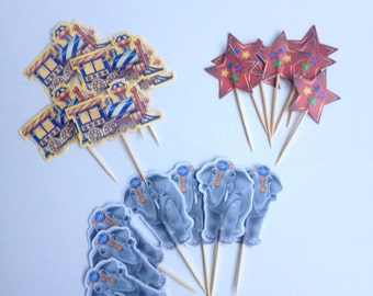 Circus themed (set of 12) toothpick paper toppers