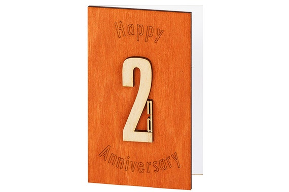 Second Wedding Anniversary Gifts For Men: 2nd Anniversary Card Second Anniversary 2nd By CardsWooden