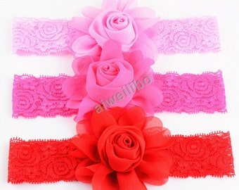 Lace Flower Headband,Chiffon Rose Headband,Baby Headband,Child Girls Headband