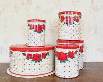Vintage Metal Cake Carrier and Canister Set, Diamond and Rose Pattern