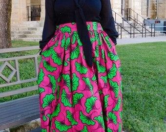 Pink Green Maxi Skirt; African Clothing; African fashion; African Print; African Skirt; High Waist Skirt; African Clothing;