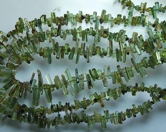 14 Inches, Green Tourmaline Stick Strand 10-15mm