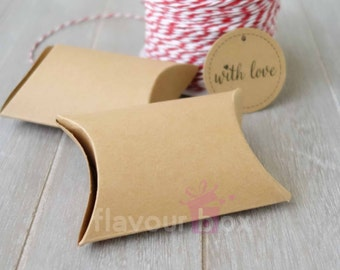 Kraft Pillow Boxes (Set of 50 or 100 boxes) ~ Wedding Bomboniere ~ Baby Shower Favour Box ~ Birthday Gift Box ~ Jewelry Rustic Box