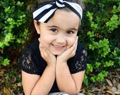 Black and White Cotton Knotted headband, baby head wrap, top knot headband