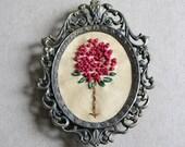 Fiber Art, Miniature Art, Mixed Media, Embroidery Art, Colonial Knots, Vintage Metal Frame, Autumn Berries, Fall Home Decor