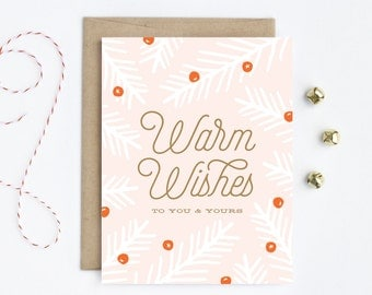 Holiday Card / Christmas Card - Warm Wishes in Pink