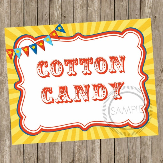 Cotton Candy Sign: 8x10 Cotton Candy Carnival / Circus Printable / Sign INSTANT
