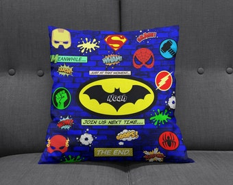 Personalized Super Hero Throw Pillow Sofa Pillows Bed Decor Blue Bricks