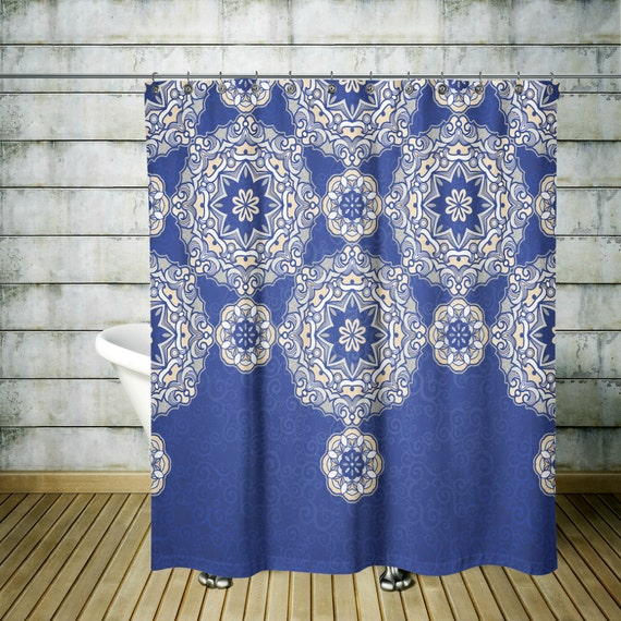 Shower Curtain Boho Chic Blue Beige Mandala Lace By