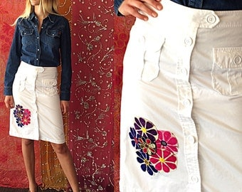 Cargo Skirt Patched Skirt Twill Skirt India Floral Patchwork Patched Skirt