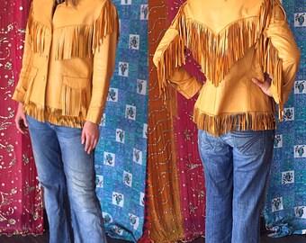 Leather Fringe Jacket Southwestern Fringe Jacket Western Hippie Biker Jacket 70s Leather Fringe Jacket