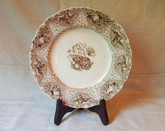 Brown Transferware Plate