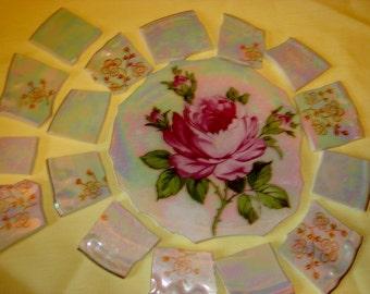 Mosaic tiles - Lovely Lustre tiles with Rose Center hand cut mosaic tiles