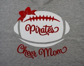 Custom Cheer Mom Shirt with Football Bow, Long Sleeve, Hoodie, Sweatshirt - customize for team name (Pirates shown). Glitter Cheer Mom Shirt