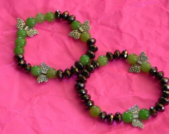Green Dragonfly Garden Bracelets