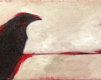 Three Crows Ravens Original Art Acrylic Painting