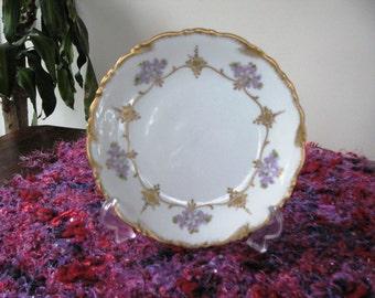 Vintage Limoges Plate ... C. Ahrenfeldt France ... Gilt Edging and Decoration ... Pretty, Floral Plate ... Decorative Plate