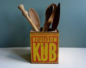 vintage french tin, bouillon kub,red,yellow