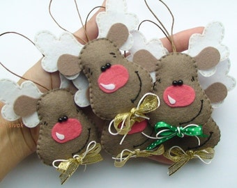 Set of 5 felt reindeers, Christmas decoration, Reindeers set of 5, Felt Christmas Ornaments, Rudolph, Santa's reindeer,  felt reindeers
