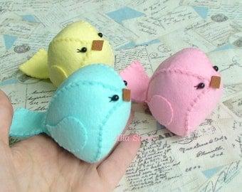 Spring bird, Tiny felt bird, Felt Bird Handmade Stuffed Animal,  Plush Bird, Stuffed Animal Bird, Spring Decor Bird Ornaments, Set of  birds