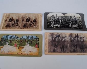 4 Lot 1860's Black American Slaves Stereo view Photo Slavery Cards